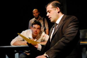 Richard D. Busser (Ariel) looks on at Avery Clark (Katurian) and Seth Duerr (Tupolski). Photo: Jen Maufrais Kelly