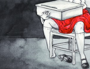 Hazel and The Desk get Cozy at Hangman School For Girls (art by Maya Battle)
