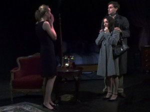 "Happy, frightened or mad? Jackie-O (Zoe Swenson) meets her twin brother Marty's (Jonathan Blakely) new fiancee, Lesly (Hilary Bettis) in Heathcliff Entertainment's production of ""The House of Yes"""