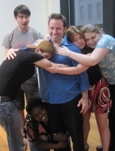 Part of the cast in rehearsals