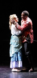 Daniel Morgan Shelley as Othello and Jennifer Blood as Desdemona