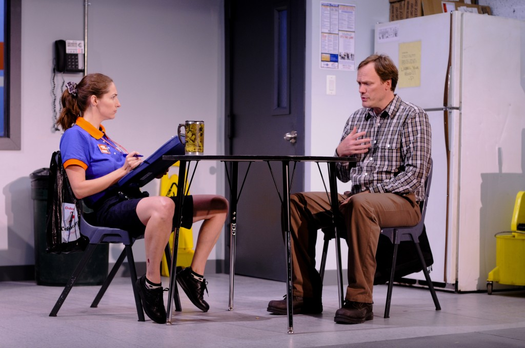 Pauline (Danielle Slavick) interviews Will (Andrew Garman) (Photo Credit: Stephen Taylor)
