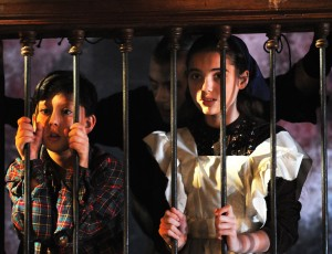 Chris Caputo (Hansel), Scott Voloshin (Witch), and Abigail Drach (Gretel) in Too Much Candy (Photographer: Steve Bartel)