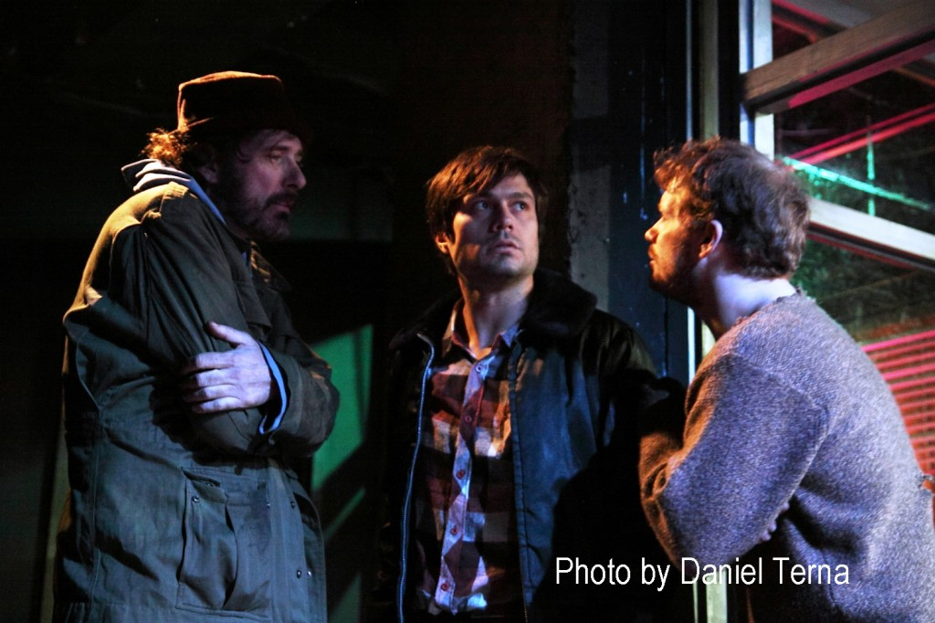 Lawrence Crimlis (Dopey), Jonathan Wilde (Joe) and Ian Campbell Dunn (Fick) in Balm In Gilead